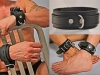 5-piece lockable leather  bondage set: 2-inch-wide  collar, wrist cuffs, and ankle  cuffs, The Leather Man
